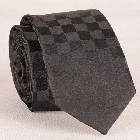 Stylish Checked Pattern Black Men's Tie - BLACK