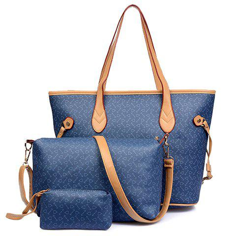 Elegant Printed and PU Leather Design Shoulder Bag For Women - BLUE