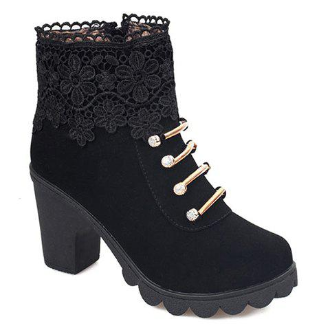 Sweet Suede and Embroidery Design Boots For Women - BLACK 38