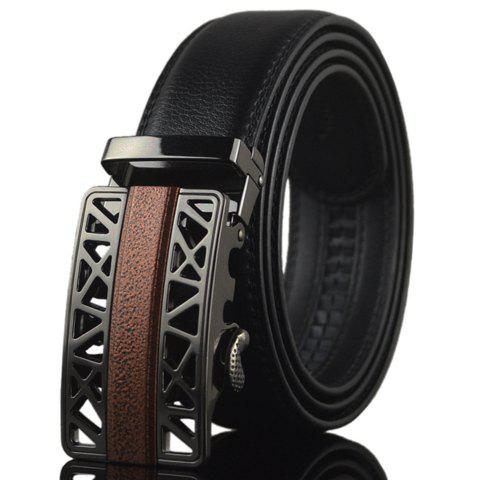 Fashionable Double-Deck PU Leather Alloy Hollow Out Automatic Buckle Belt For Men - BLACK