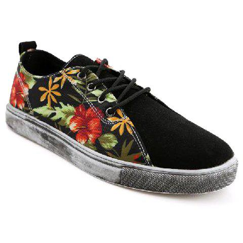 Retro Suede and Floral Print Design Casual Shoes For Men - BLACK 42