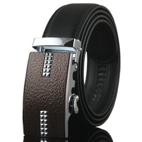 Fashionable Double-Deck PU Leather Alloy Geometric Pattern Automatic Buckle Belt For Men