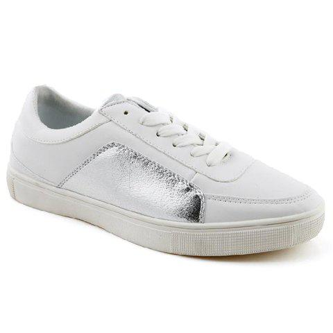 Preppy Style Color Block and PU Leather Design Casual Shoes For Men - WHITE 40