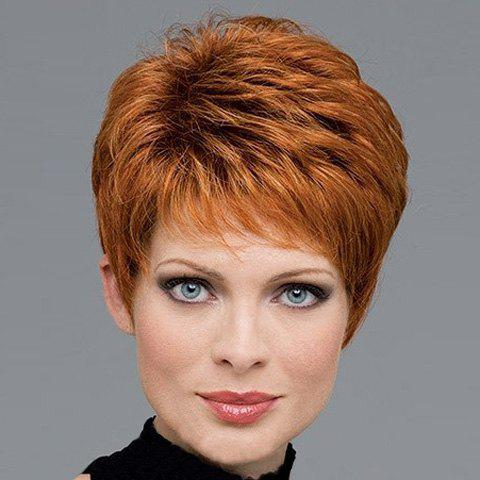 Fluffy Heat Resistant Synthetic Spiffy Gold Mixed Brown Wavy Side Bang Short Capless Women's Wig shaggy fashion short capless blonde mixed brown heat resistant fiber side bang wavy women s wig