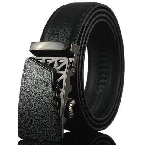 Fashionable New PU Leather Black Metal Hollow Out Automatic Buckle Belt For Men - BLACK
