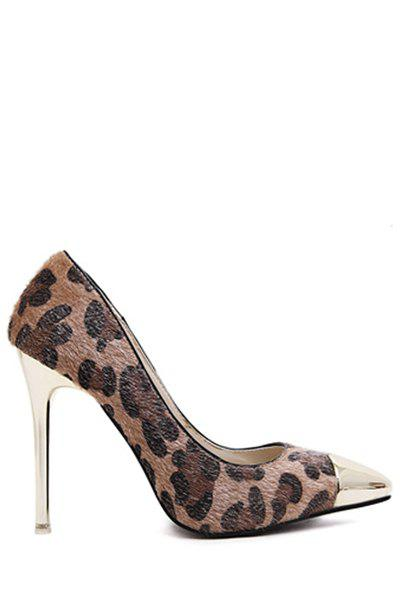 Sexy Leopard Print and Metallic Toe Design Women's Pumps - DEEP BROWN 36