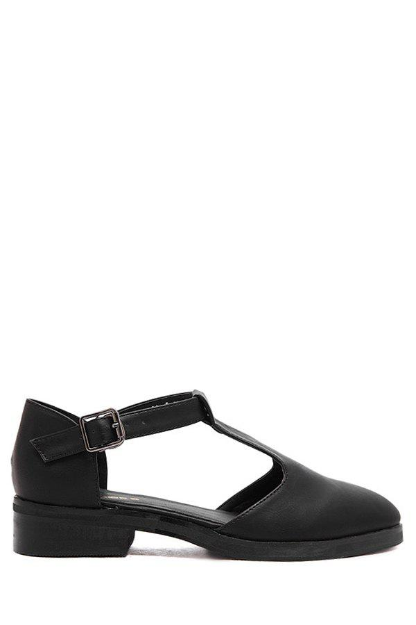 Retro T-Strap and Buckle Design Women's Flat Shoes