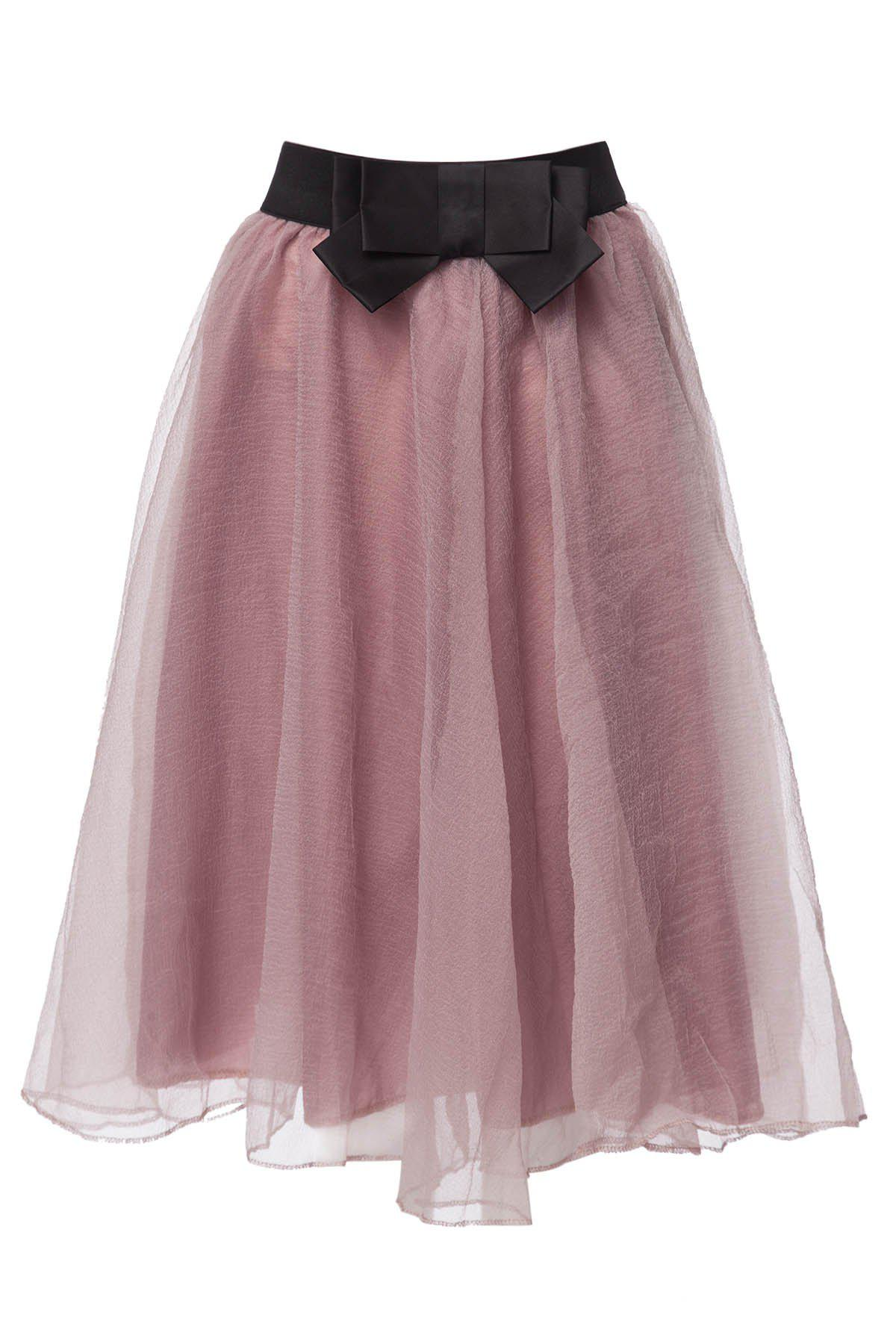 Stylish High Waisted Voile Spliced A-Line Women's Skirt - PINK ONE SIZE(FIT SIZE XS TO M)