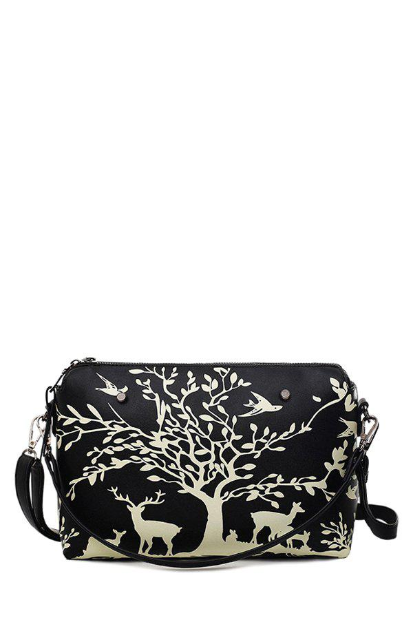 Fashion Print and Zipper Design Women's Crossbody Bag - BLACK