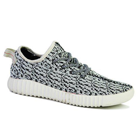Stylish Printed and Lace-Up Design Casual Shoes For Men - 44 WHITE/BLACK