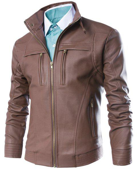 Slimming Stand Collar Fashion Fabric Splicing Zipper Design Long Sleeve Men's PU Leather Jacket - BROWN M
