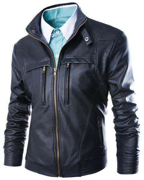 Slimming Stand Collar Fashion Fabric Splicing Zipper Design Long Sleeve Mens PU Leather JacketMen<br><br><br>Size: 4XL<br>Color: BLACK