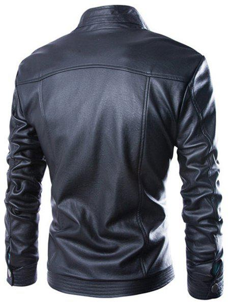 Slimming Stand Collar Fashion Fabric Splicing Zipper Design Long Sleeve Men's PU Leather Jacket - BLACK L