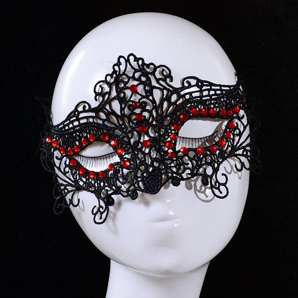 Gothic Hollow Out Rhinestone Embellished Lace Half-Face Halloween Party Mask For Women - BLACK