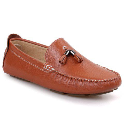 Trendy Stitching and Tassels Design Loafers For Men - BROWN 41