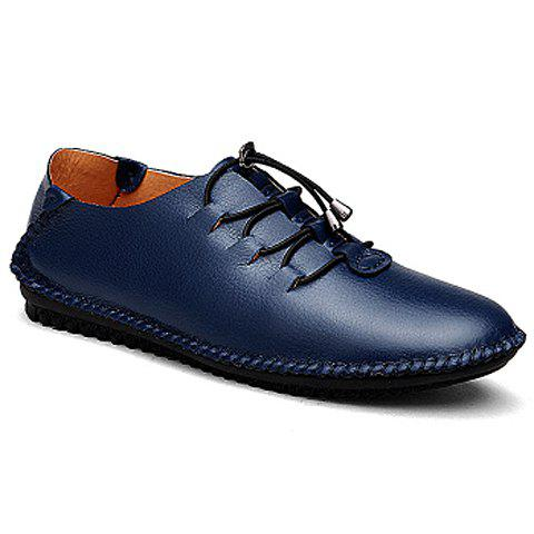 Stylish Stitching and PU Leather Design Formal Shoes For Men - BLUE 41