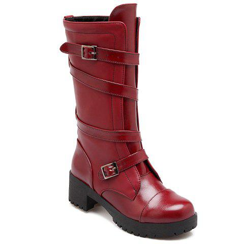 Stylish Solid Color and Buckles Design Boots For Women - WINE RED 34