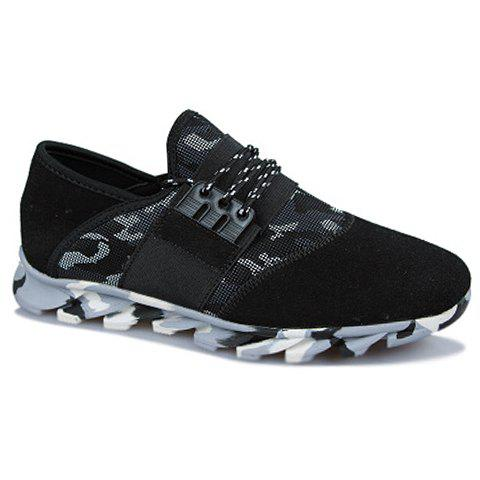 Stylish Camouflage Pattern and Suede Design Casual Shoes For Men - BLACK 40