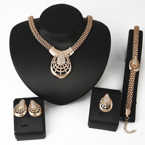 Zircon Inlaid Hollow Out Necklace Bracelet Ring and A Pair of Earrings - GOLDEN