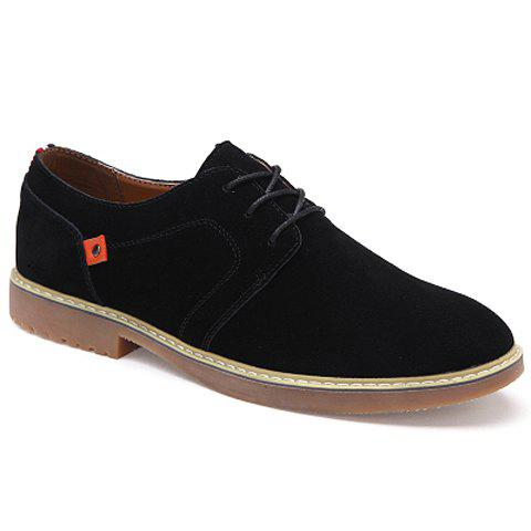 Stylish Color Block and Rivet Design Formal Shoes For Men - BLACK 42