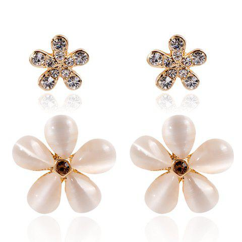 4PCS Sweet Faux Opal Rhinestoned Flower Women's Earrings - WHITE