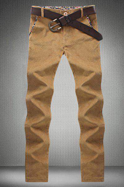 Slimming Straight Leg Print Purfled Pocket Zipper Fly Men's Plus Size Corduroy Pants