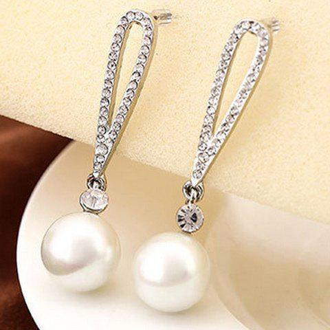 Pair of Attractive Faux Pearl Drop Earrings For Women - WHITE