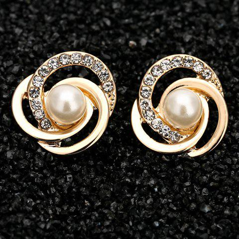 Pair of Stylish Faux Pearl Love Knot Earrings For Women - GOLDEN