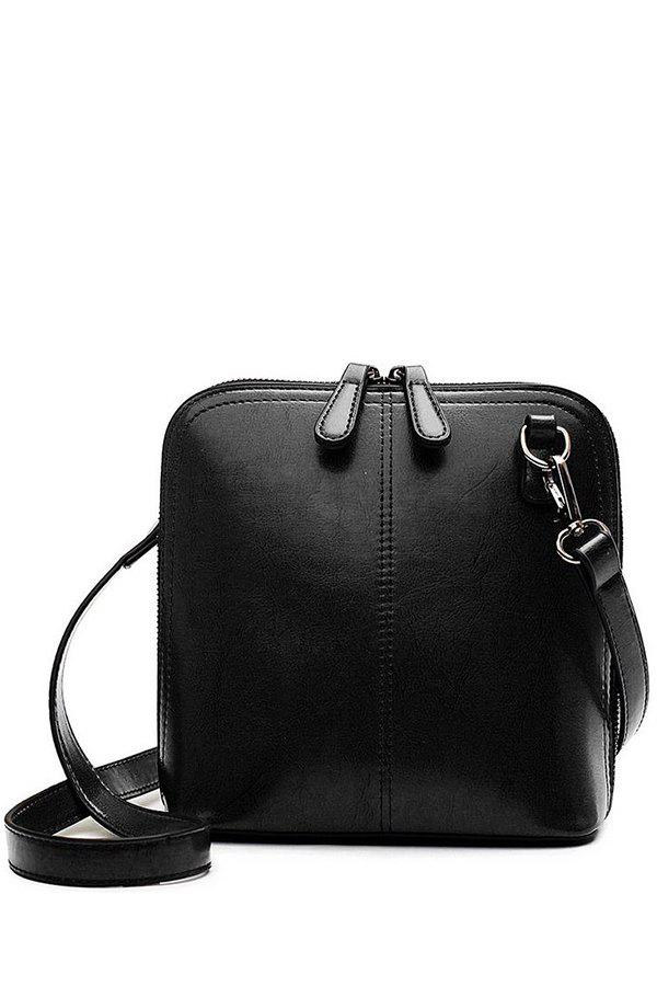 Sweet Buckle and Zipper Design Women's Crossbody Bag - BLACK