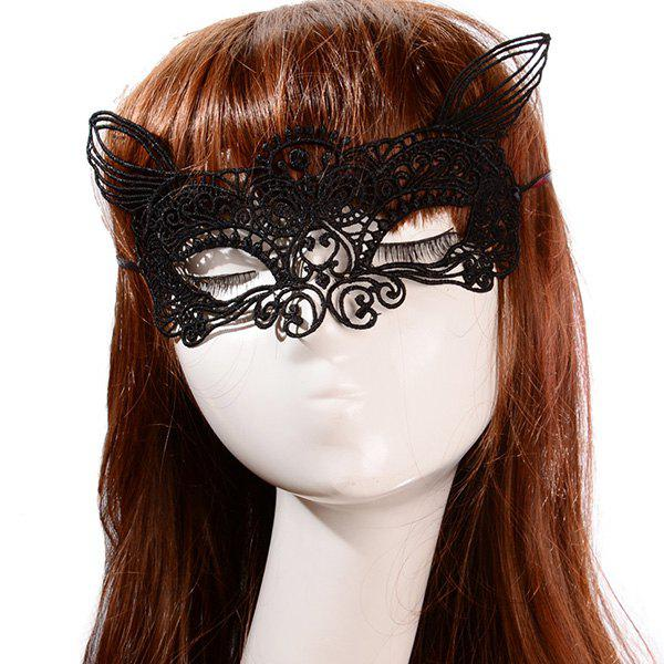 Stylish Fox Head Shape Hollow Out Lace Knitted Half-Face Carnival Party Mask - BLACK