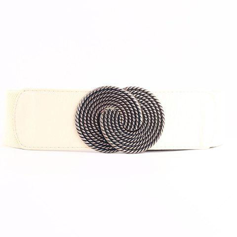Chic Simple Metal Hasp Women's Elastic Waistband - OFF WHITE