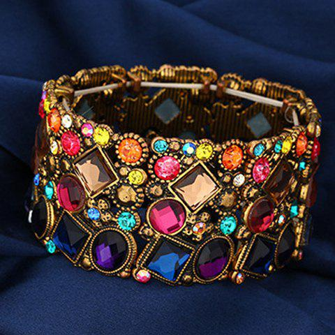 Vintage Rhinestone Round Square Colored Bracelet For Women