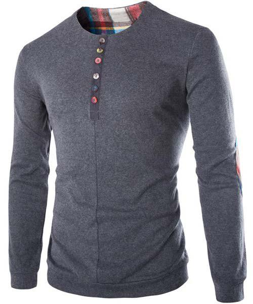 Slimming Round Neck Modish Buttons Design Patched Splicing Long Sleeve Woolen Blend Men's T-Shirt - GRAY M