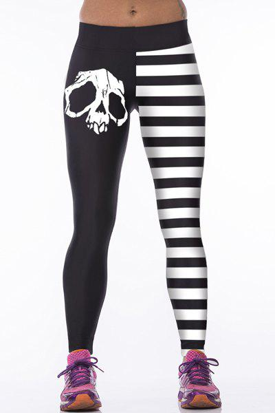 Skulls Stripes Tight Leggings - WHITE/BLACK ONE SIZE