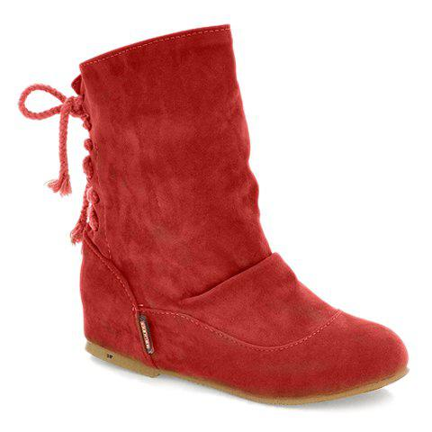 Stylish Solid Colour and Increased Internal Design Boots For Women - RED 38