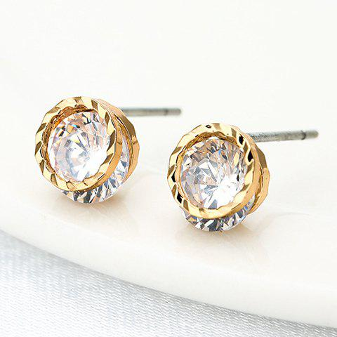 Pair of Elegant Rhinestone Hollow Out Round Earrings For Women - GOLDEN