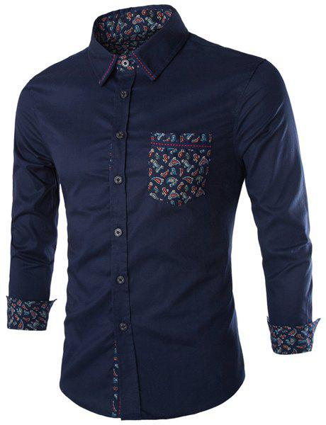 Slimming Shirt Collar Trendy Paisley Pattern Splicing Long Sleeve Cotton Blend Men's Shirt