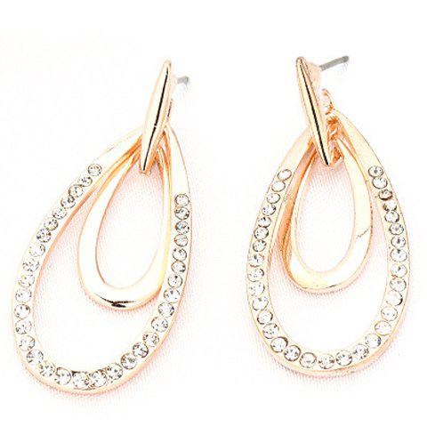 Pair of Exquisite Rhinestone Hollow Out Waterdrop Earrings For Women - GOLDEN