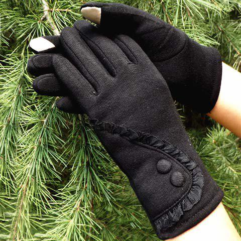 Pair of Chic Button and Lace Embellished Solid Color Gloves For Women - BLACK