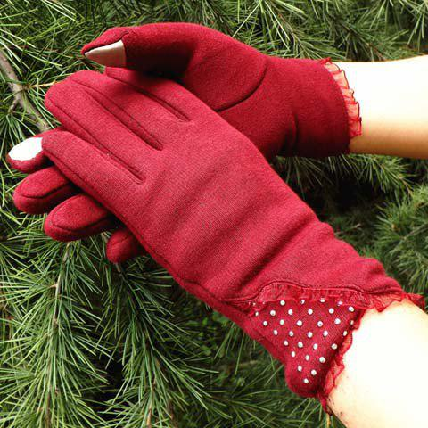 Pair of Chic Faux Gem and Lace Embellished Solid Color Gloves For Women - CLARET