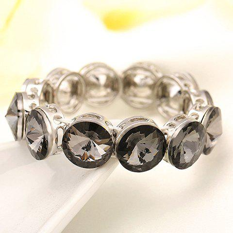 Chic Round Rhinestoned Bracelet For Women - GRAY