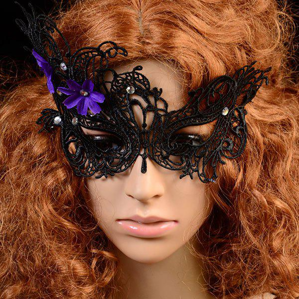 Chic Flower Pattern and Hollow Out Lace Halloween Women's Party Mask - BLACK