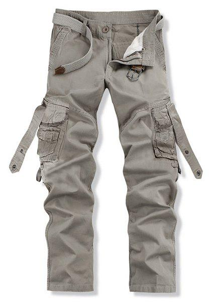 Stylish Loose Fit Solid Color Multi-Pocket Straight Leg Cotton Blend Cargo Pants For Men - GRAY 36
