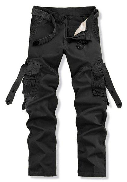 Stylish Loose Fit Solid Color Multi-Pocket Straight Leg Cotton Blend Cargo Pants For Men - BLACK 28