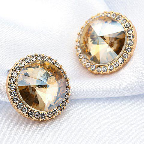 Pair of Delicate Elegant Zircon Inlaid Round Shape Stud Earrings For Women - GOLDEN