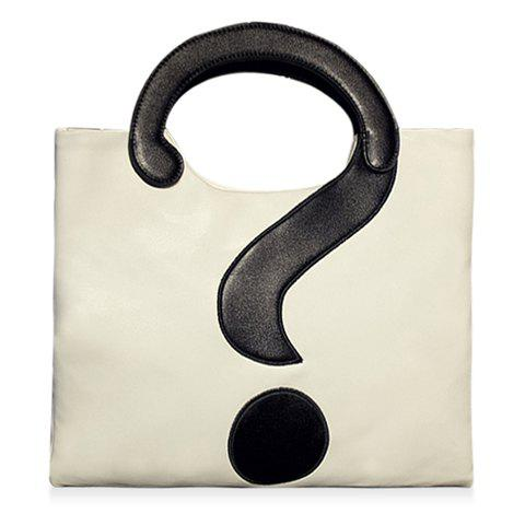 Stylish Question Mark and Color Block Design Tote Bag For Women - WHITE/BLACK