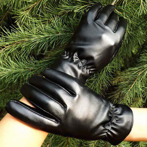 Pair of Chic Small Bow Embellished Solid Color Pleated PU Gloves For Women - BLACK