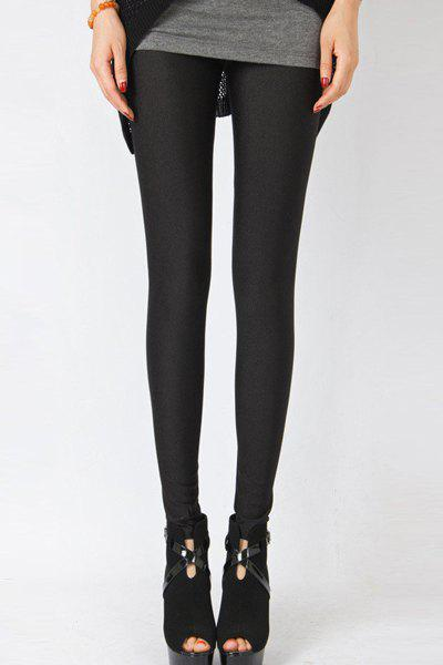 Fresh Style Elastic Candy Color Bodycon Leggings For Women - BLACK M