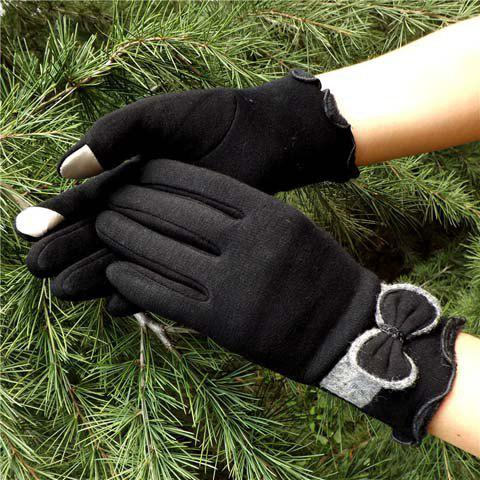 Pair of Chic Bowknot and Covered Edge Embellished Gloves For Women - BLACK