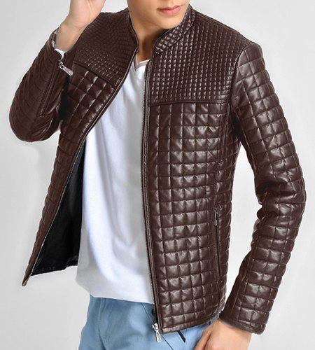 Checked Stand Collar Long Sleeve PU-Leather Slimming Men's Jacket - BROWN M